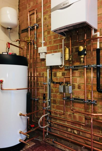 Vaillant System boiler, unvented cylinder & controls, Spirotech protection installed in Epsom